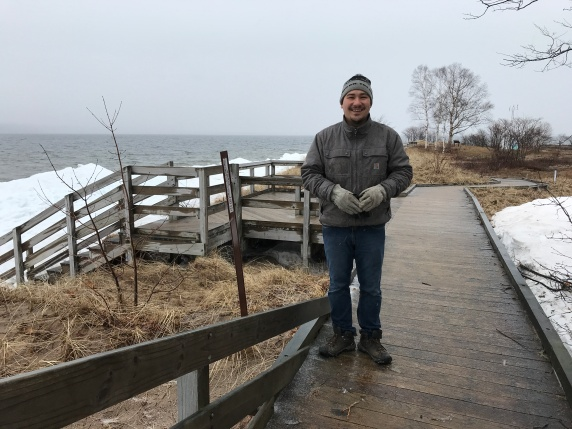 On May 1, 2019, in the sleet and snow, Elliot Nelson was out scouting field trip options for the Great Lakes Sea Grant Network meeting in September. He doesn't think we'll have snow during our conference, but he's not making any promises either!
