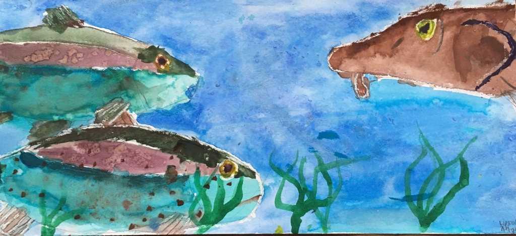 Watercolor of 3 fish on blue background with strands of seaweed.
